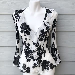 NWT Allison Taylor Ruffled Floral Blouse